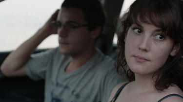 Christopher Abbott and Melanie Lynskey in &quot;Hello I Must Be Going.&quot;